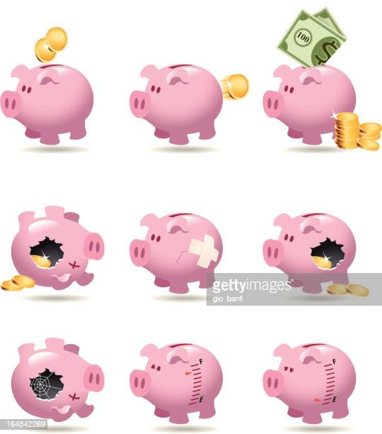 bank icon set - piggy bank stock illustrations