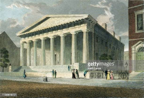 bank of philadelphia, the second bank of the united states - history stock illustrations