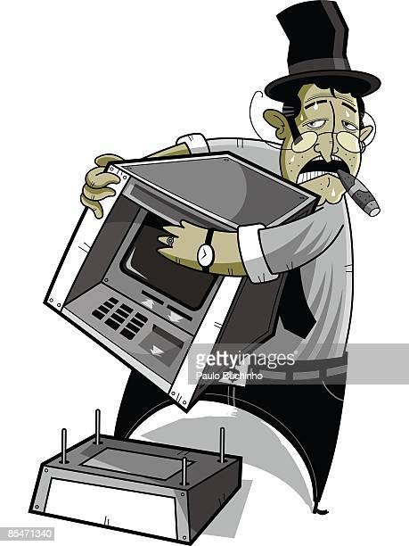 ilustrações de stock, clip art, desenhos animados e ícones de a banker taking apart a bank machine - buchinho