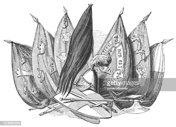 banners used in the battle of agincourt - henry v of england stock illustrations, clip art, cartoons, & icons