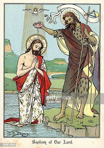 ilustraciones, imágenes clip art, dibujos animados e iconos de stock de bautismo de jesucristo - san juan bautista