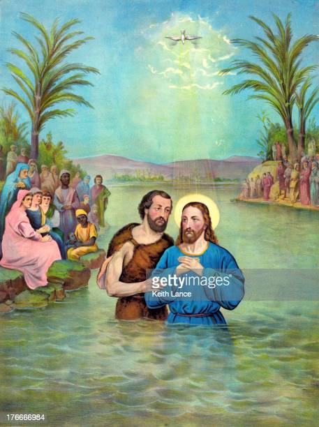 baptism of jesus christ - jesus christ stock illustrations, clip art, cartoons, & icons
