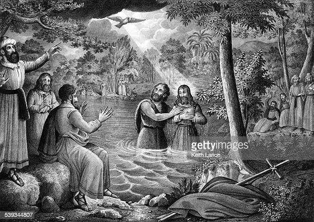 baptism of jesus christ - baptism stock illustrations