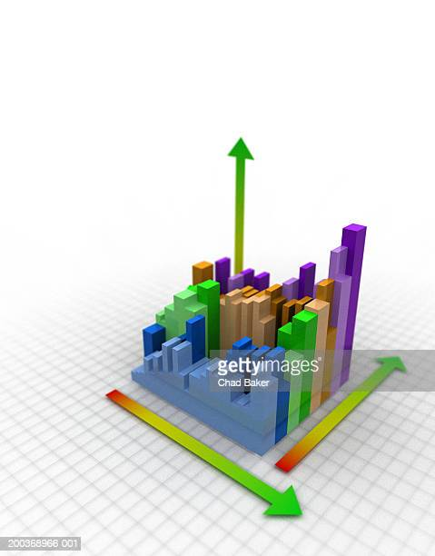 bar graph, elevated view (digital) - graph stock illustrations