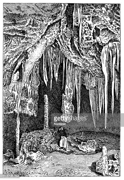 baradle cave in aggtelek national park in hungury ,valley of tempe part - tempo stock illustrations