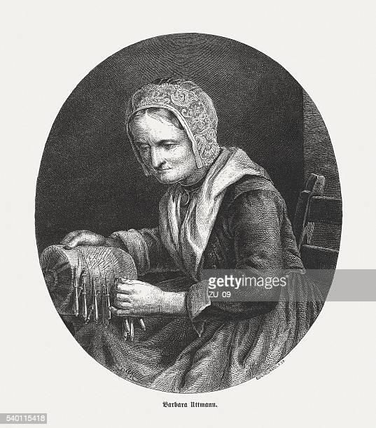 Bárbara Uthmann (c. 1514-1575), alemán mujer de negocios, grabado en madera, publicado 1870