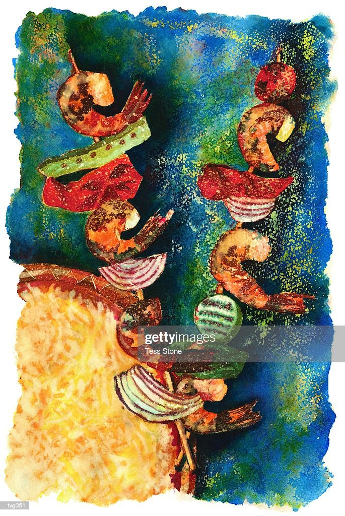 Barbecued Shrimp & Vegetables : Stock Illustration