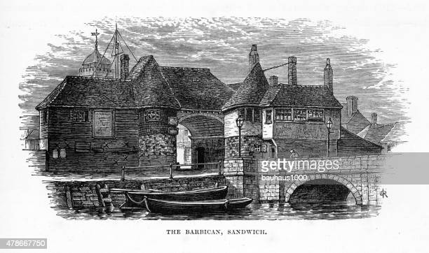 Barbican in Sandwich, England Victorian Engraving