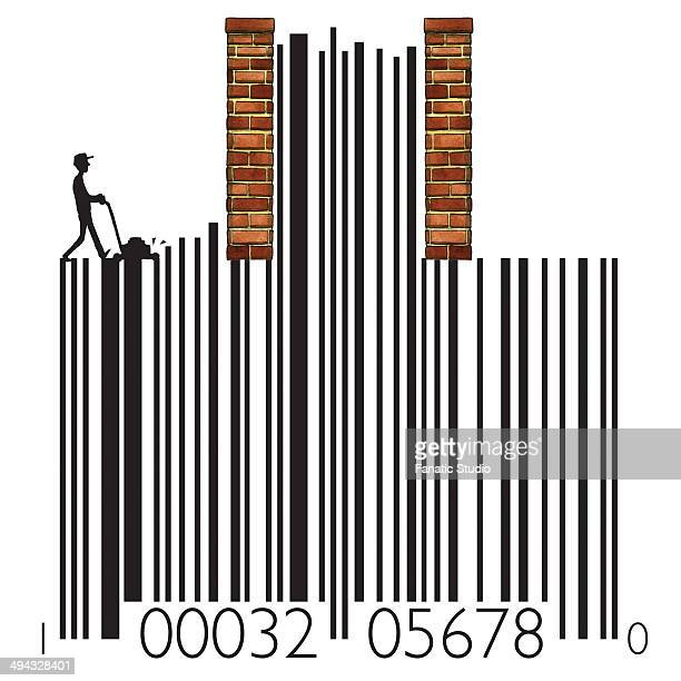 barcode representating the concept of rising price - cash flow stock illustrations, clip art, cartoons, & icons