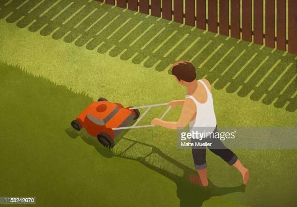 barefoot man mowing lawn in backyard - lawn mower stock illustrations