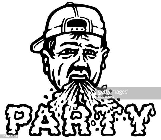 barfing party dude - vomit stock illustrations