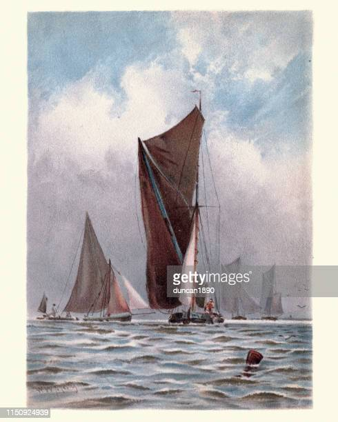 Barges on the Thames, Victorian, 19th Century