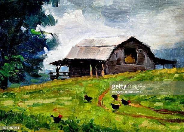 barn in green fields of grass - painted image stock illustrations