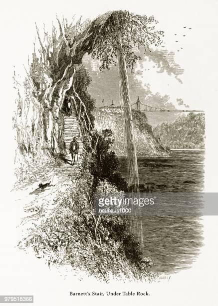 barnett's stair under table rock, niagara falls, new york, niagara falls, ontario, american victorian engraving, 1872 - lake ontario stock illustrations, clip art, cartoons, & icons