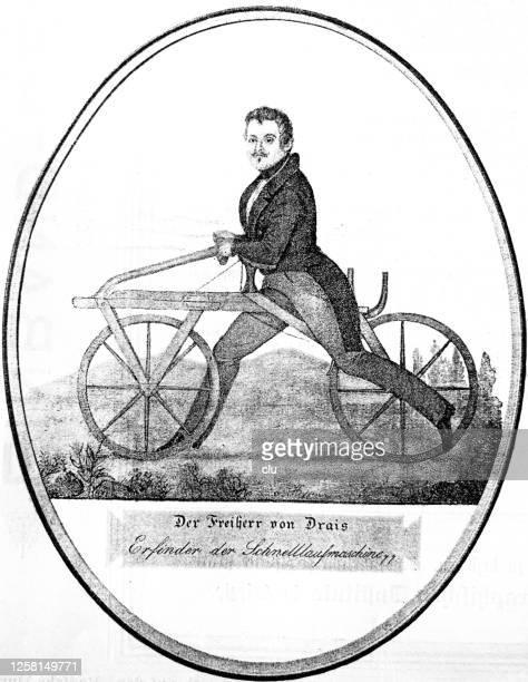 freiherr von drais portrait, inventor of the draisine, bicycle - first occurrence stock-grafiken, -clipart, -cartoons und -symbole