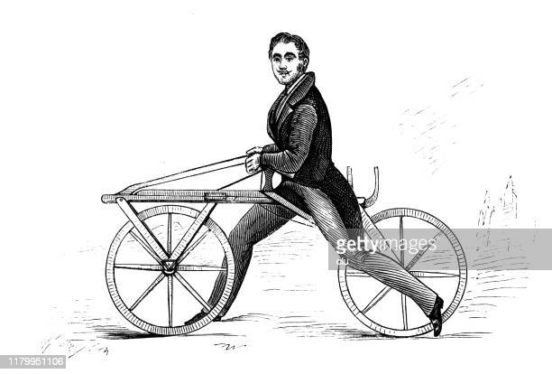 illustrations, cliparts, dessins animés et icônes de baron de drais avec son innovation de vélo de roue - image du xixème siècle