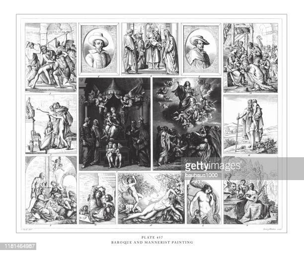 illustrazioni stock, clip art, cartoni animati e icone di tendenza di baroque and mannerist painting engraving antique illustration, published 1851 - michelangelo merisi da caravaggio