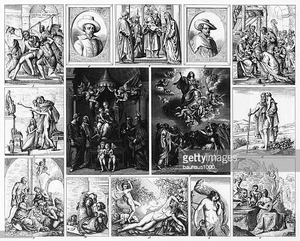 baroque and mannerist painting engraving - tiziano vecellio stock illustrations, clip art, cartoons, & icons