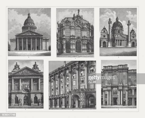 baroque and rococo architecture, wood engravings, published in 1897 - pediment stock illustrations, clip art, cartoons, & icons