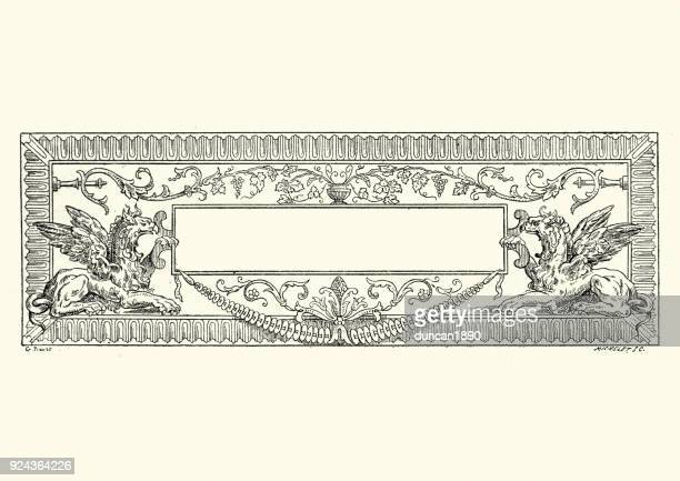 baroque style griffin title plate - griffin stock illustrations, clip art, cartoons, & icons