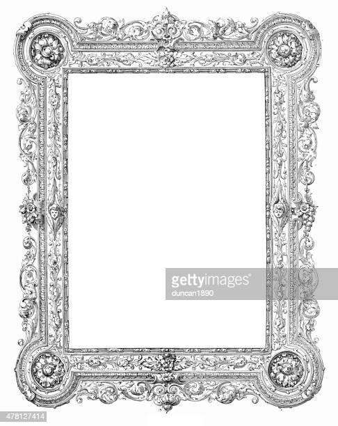 バロックスタイルの写真フレーム - 黒枠点のイラスト素材/クリップアート素材/マンガ素材/アイコン素材