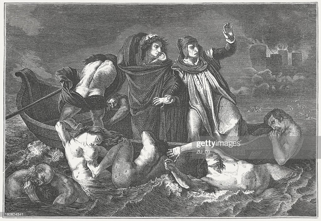 Barque of Dante, painting (1822) by Eugène Delacroix, published 1882 : stock illustration
