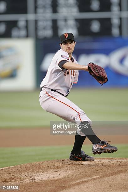 Barry Zito of the San Francisco Giants pitches during the game against the Oakland Athletics at the McAfee Coliseum in Oakland California on May 18...