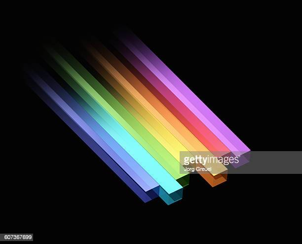 bars in prismatic colours - in a row stock illustrations