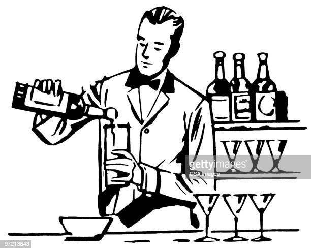 bartender - bartresen stock-grafiken, -clipart, -cartoons und -symbole