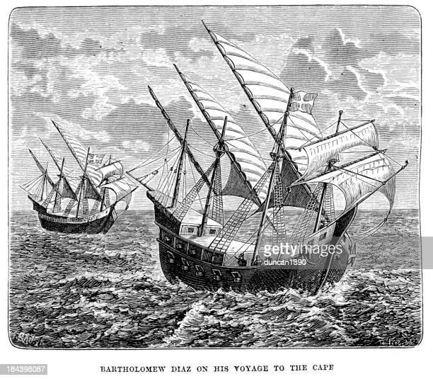 ilustrações, clipart, desenhos animados e ícones de bartolomeu dias em sua viagem a cape - tall ship