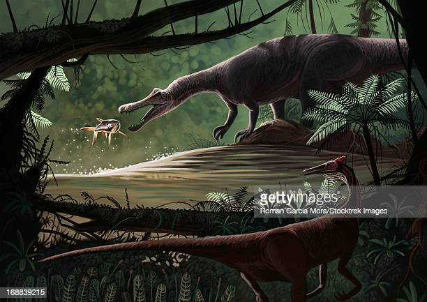 baryonyx walkeri fishing while a pelecanimimus observes from the other side. - other stock illustrations, clip art, cartoons, & icons