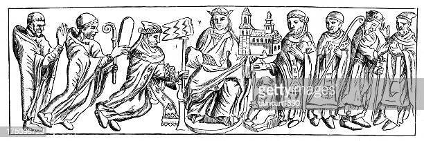 bas relief's tomb hinemar - bas relief stock illustrations