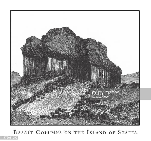 basalt columns on the island of staffa, caves, icebergs, lava and rock formations engraving antique illustration, published 1851 - isle of staffa stock illustrations, clip art, cartoons, & icons