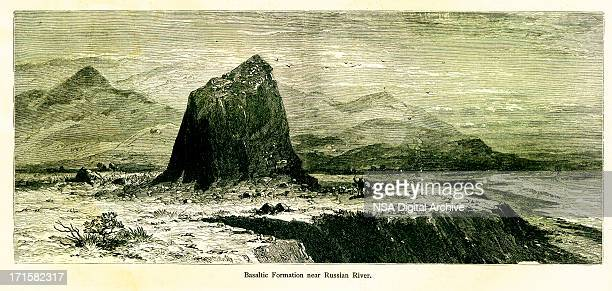 basalt formation near russian river, california, wood engraving - basalt stock illustrations, clip art, cartoons, & icons