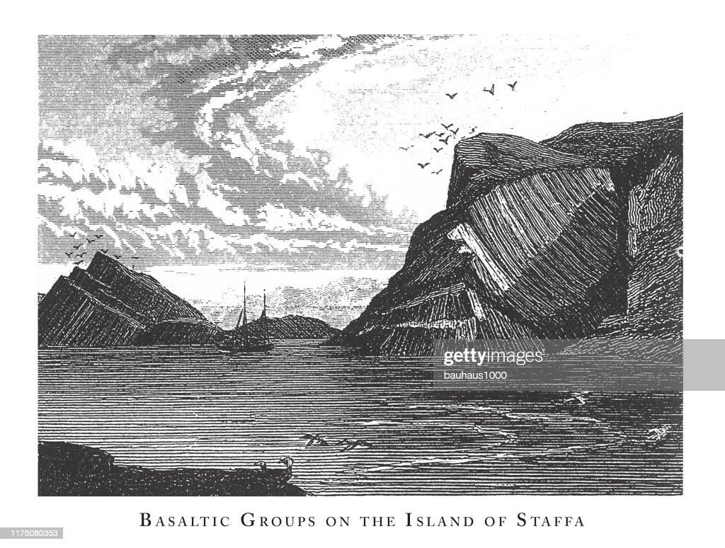 Basaltic Groups on the Island of Staffa, Notable Geological Formations Engraving Antique Illustration, Published 1851 : stock illustration