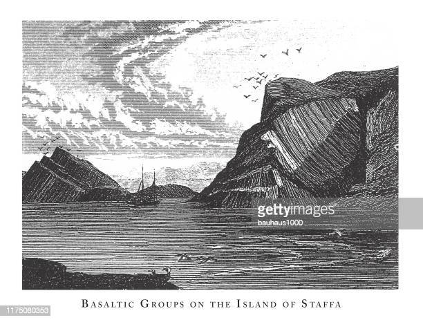 basaltic groups on the island of staffa, notable geological formations engraving antique illustration, published 1851 - isle of staffa stock illustrations, clip art, cartoons, & icons