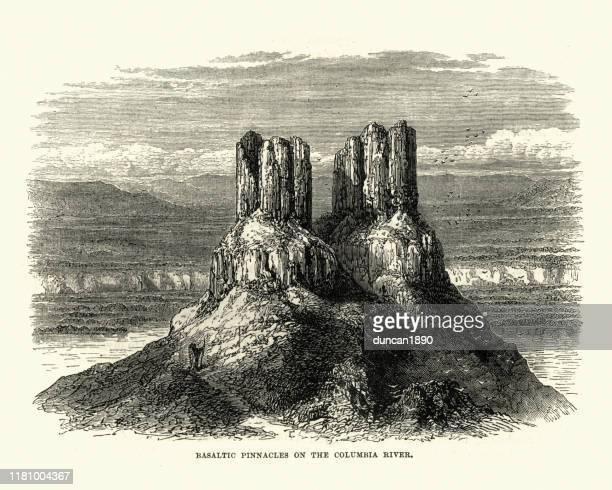 basaltic pinnacles on the columbia river, usa, 19th century - basalt stock illustrations, clip art, cartoons, & icons