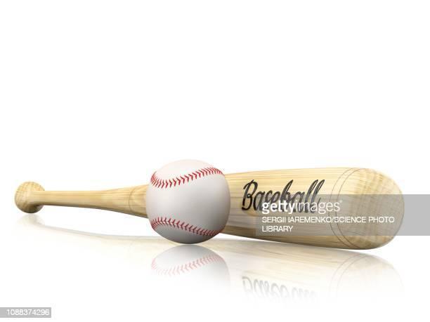 baseball bat and ball, illustration - baseball bat stock illustrations, clip art, cartoons, & icons