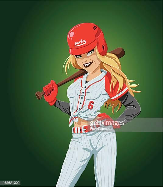 baseball batter girl - baseball bat stock illustrations, clip art, cartoons, & icons