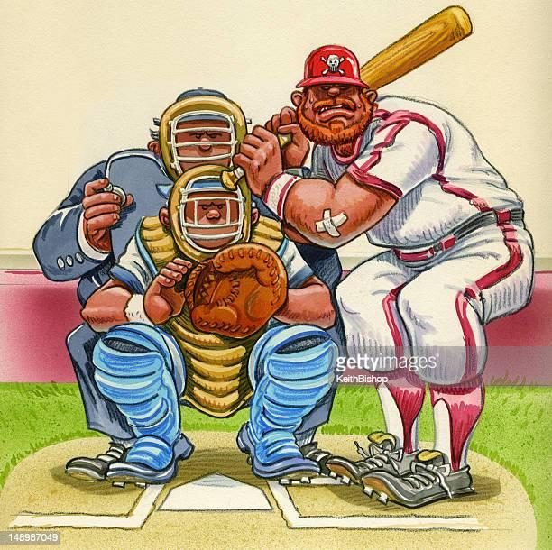 illustrations, cliparts, dessins animés et icônes de de baseball dessin animé-batteur et arbitre de baseball home plate - arbitre de baseball