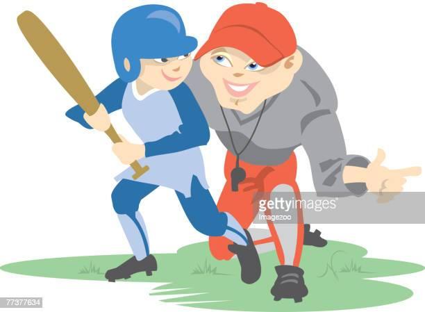 ilustraciones, imágenes clip art, dibujos animados e iconos de stock de baseball coach - educacion fisica