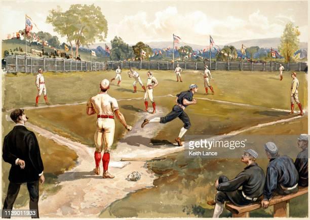 baseball game - archival stock illustrations