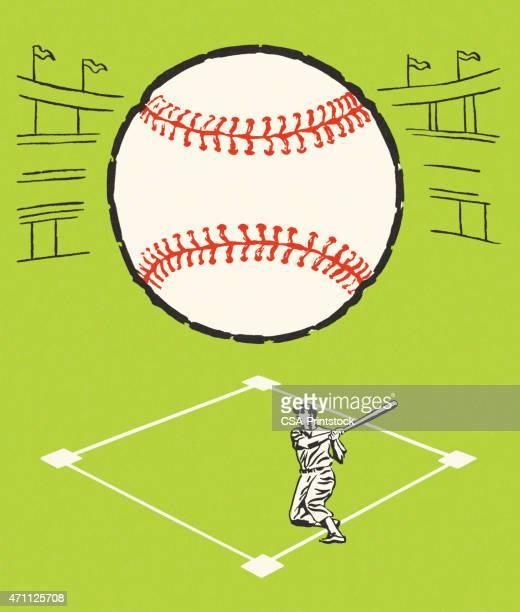ilustraciones, imágenes clip art, dibujos animados e iconos de stock de bola y jugador de béisbol - marcar términos deportivos