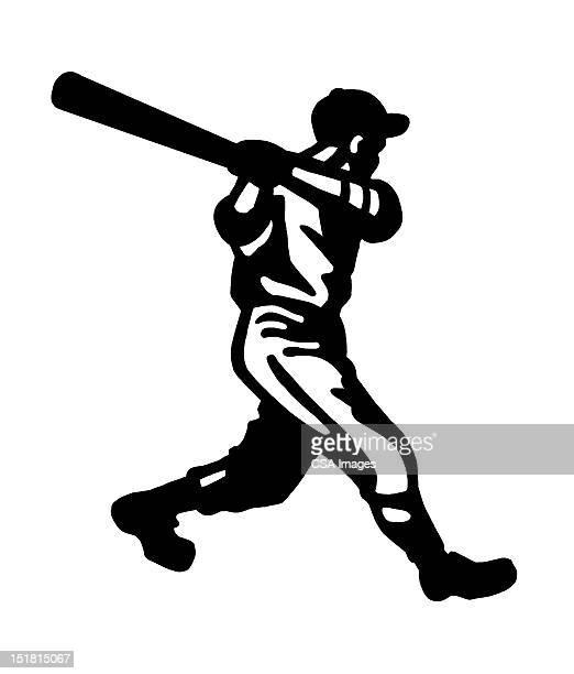 bildbanksillustrationer, clip art samt tecknat material och ikoner med baseball player at bat - basebollslag