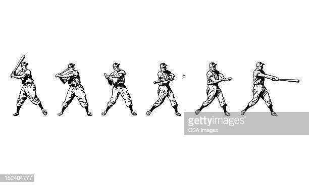 baseball player at bat - baseball stock illustrations, clip art, cartoons, & icons
