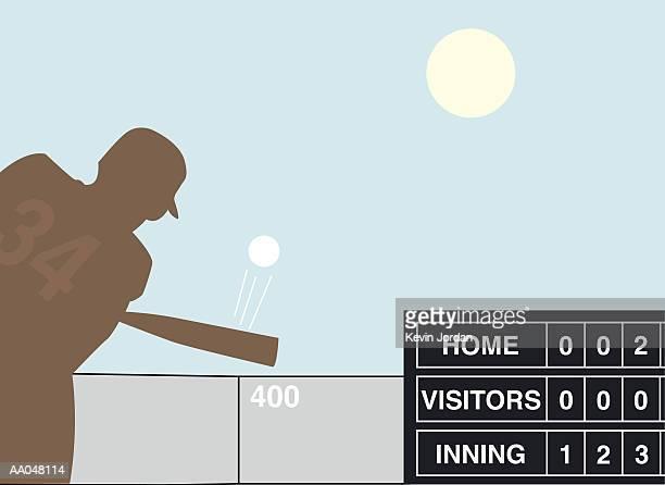 Baseball player hitting ball, silhouette (Digital)