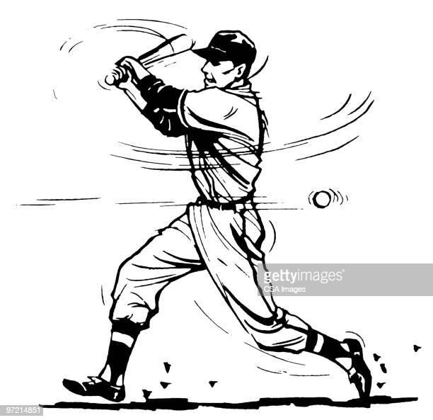 bildbanksillustrationer, clip art samt tecknat material och ikoner med baseball player - basebollslag