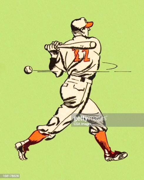 bildbanksillustrationer, clip art samt tecknat material och ikoner med baseball player swinging bat - basebollslag