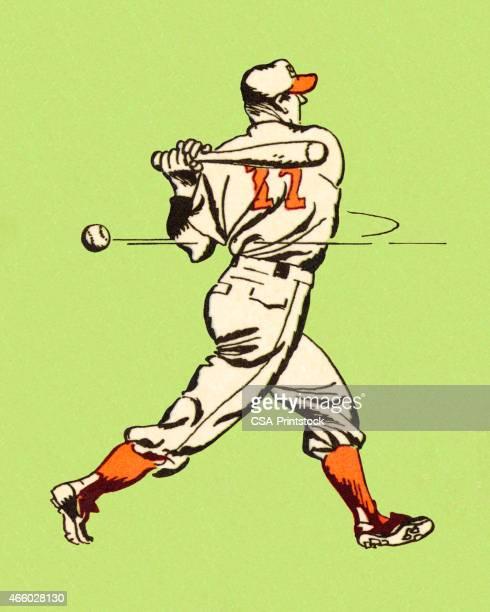 baseball player swinging bat - failure stock illustrations