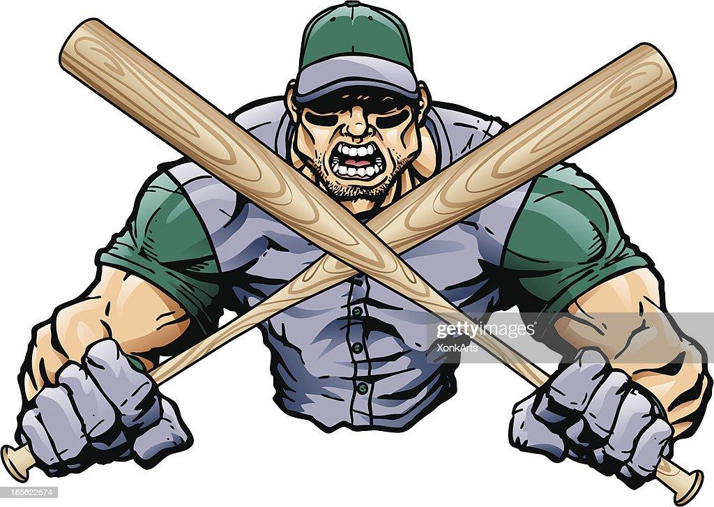 Baseball Player with Bats